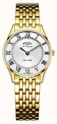Rotary Frauen les originales ultra slim weißes Zifferblatt LB90803/01