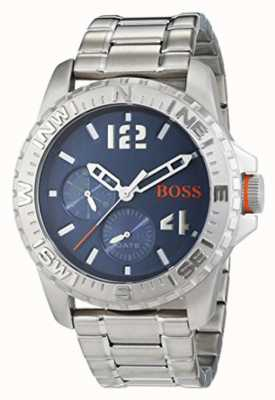 Hugo Boss Orange Mens reykjavik Edelstahlarmband blaues Zifferblatt 1513424
