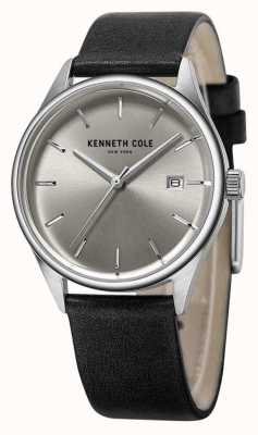 Kenneth Cole Damen schwarzes Lederband silbernes Zifferblatt KC10025930