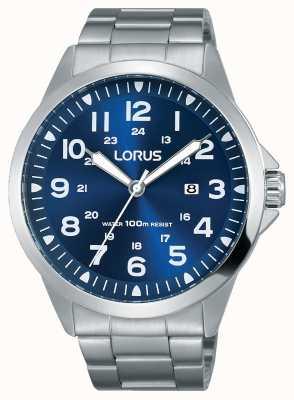 Lorus Herren Edelstahl Armband blau Zifferblatt RH925GX9