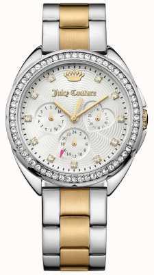 Juicy Couture Damen capri zwei Ton-Edelstahl-Armband silbernes Zifferblatt 1901481