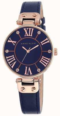 Anne Klein Damen blaues Lederband blaues Zifferblatt 10/N9918RGNV