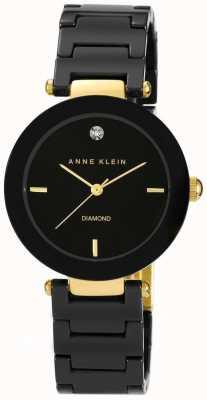 Anne Klein Damen schwarzes Keramikband schwarzes Zifferblatt AK/N1018BKBK
