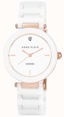 Anne Klein Damen weißes Keramikband weißes Zifferblatt AK/N1018RGWT