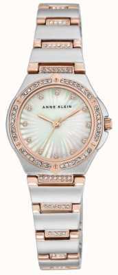 Anne Klein Womens zwei Ton Armband Mutter Perle Zifferblatt AK/N2417MPRT