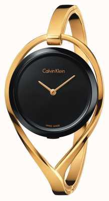 Calvin Klein Womens Licht kleine Gold Tone Armreif schwarz Zifferblatt K6L2S411