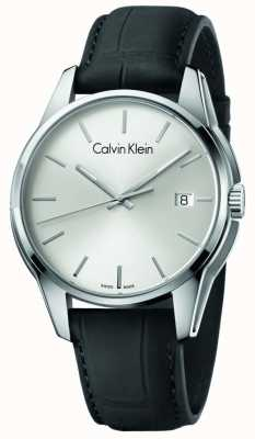 Calvin Klein Mens Tone schwarzes Lederband Silber Zifferblatt K7K411C6