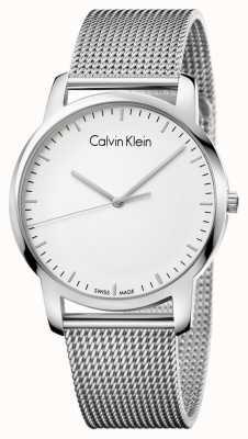 Calvin Klein Mens City Edelstahl Mesh Strap Silber Zifferblatt K2G2G126