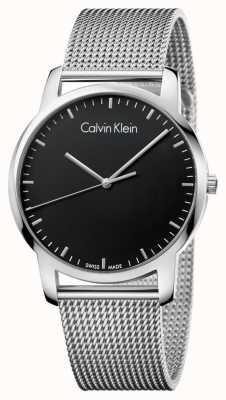 Calvin Klein Mens City Edelstahl Mesh Strap schwarzes Zifferblatt K2G2G121