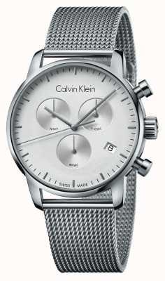 Calvin Klein Mens City Chronograph Edelstahl weißes Zifferblatt K2G27126