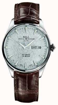 Ball Watch Company Trainmaster Ewigkeit Automatik Crockodile Strap Silber Zifferblatt NM2080D-LJ-SL