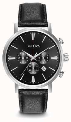Bulova Herren Chronograph schwarzes Lederarmband 96B262