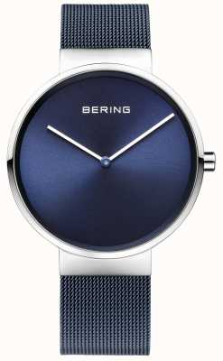 Bering Unisex blau Eisen überzogenes Stahlgitterband 39mm 14539-307