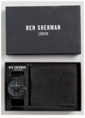 Ben Sherman Mens schwarze Brieftasche Geschenk-Set WB050BBG