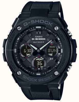Casio Mens g-Stahl-Chronograph Alarm schwarzen Kautschukarmband GST-W100G-1BER