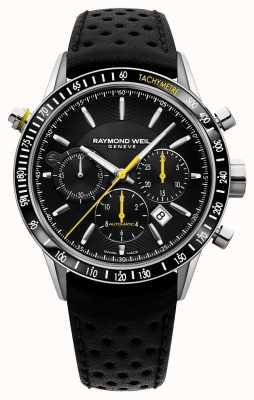 Raymond Weil Herren Automatikuhr schwarz Chronograph schwarzes Lederarmband 7740-SC1-20021