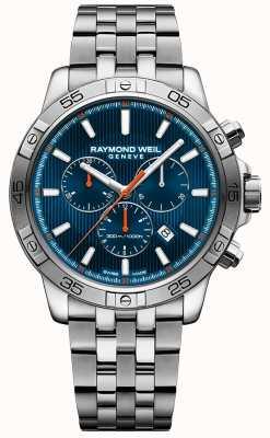 Raymond Weil Mens Tango 43mm blau Chronograph Zifferblatt aus Edelstahl 8560-ST2-50001