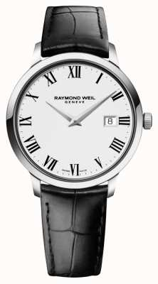 Raymond Weil Mens dünnes weißes schwarzes Leder 5488-STC-00300