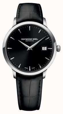 Raymond Weil Mens nehmen schwarz schwarz Leder 5488-STC-20001