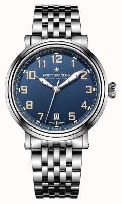 Dreyfuss Herren Edelstahl 1924 Armband blaues Zifferblatt DGB00152/52