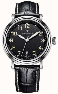 Dreyfuss rostfreiem 1924 Stahl Männer schwarzes Lederarmband DGS00152/19