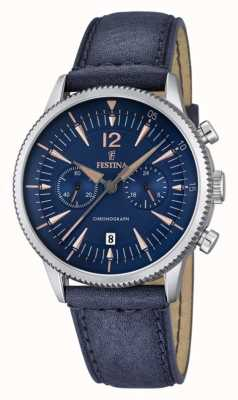 Festina Blauer Chrono Herrenuhr, blaues Leder F16870/2