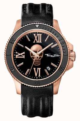 Thomas Sabo Mens Rebell-Symbol schwarzem Leder Schädel Wahl WA0279-213-203-44