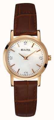 Bulova Damen goldene Uhr braunes Lederarmband 97S105