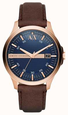 Armani Exchange Mens braunes Lederarmband Gold Gehäuse stieg AX2172