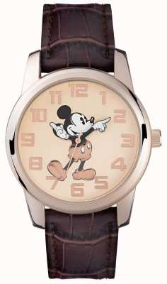 Disney Adult Mickey-Mouse-Roségold-Etui braunes Band MK1459