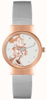 Disney Adult Minnie Maus Roségold Gehäuse Silber Mesh-Armband MN1312