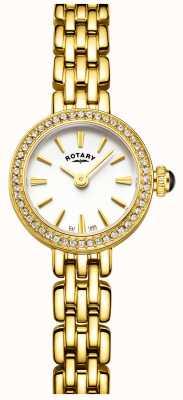 Rotary Womans vergoldet Stein gemeißelt Cocktail Uhr LB05053/02