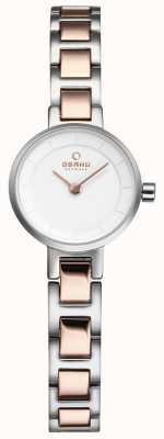 Obaku Womans Silber und Rotgold Metall Uhr V198LXCISC