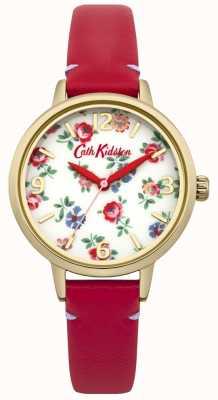 Cath Kidston Damen rotes Leder Leinen Zweig Uhr CKL006RG