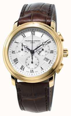 Frederique Constant Mens klassischen Chronographen braunes Lederarmband FC-292MC4P5