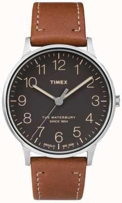 Timex Mens waterbury klassischen schwarzen Zifferblatt braunen Armband TW2P95800