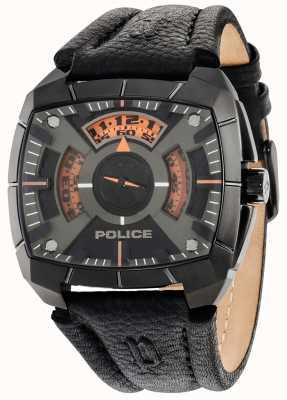 Police Mens g Kraft schwarzes Lederband Zifferblatt schwarz 14796JSU/02
