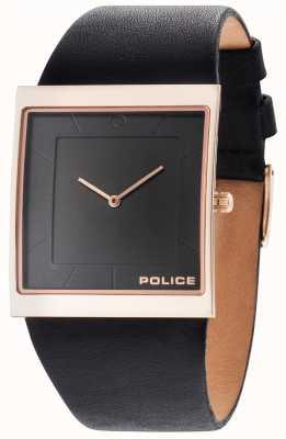 Police Herren Skyline schwarzes Lederband schwarzes Zifferblatt 14694MSR/02