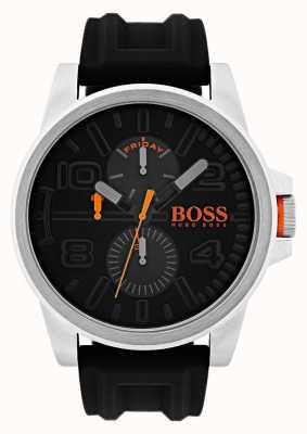 Hugo Boss Orange Detroit schwarze Gummidatum- und -tagesanzeigenuhr 1550006