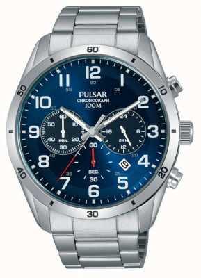 Pulsar Gents 100m Edelstahl stell blau Gesicht Chrono Uhr PT3829X1