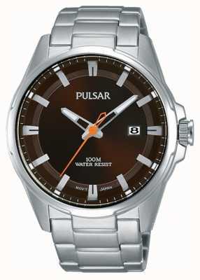 Pulsar Gents Edelstahl braun Gesicht Uhr PS9507X1