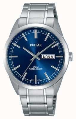 Pulsar Gents Edelstahl blaue Gesicht Uhr PJ6073X1