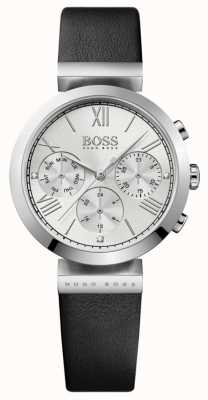 Boss Klassisches schwarzes Damen Lederarmband mit silbernem Zifferblatt 1502395