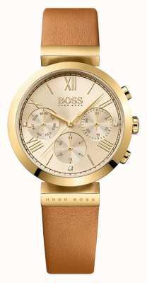 Hugo Boss Damen klassischen Sport braunes Lederarmband Zifferblatt aus Gold 1502396