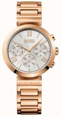 Boss Roségold plattiertes Sportarmband für Damen mit silbernem Zifferblatt 1502399