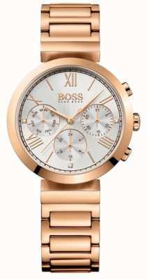 BOSS Klassischer Sport Rosé vergoldetes Armband der Damen Silber Zifferblatt 1502399