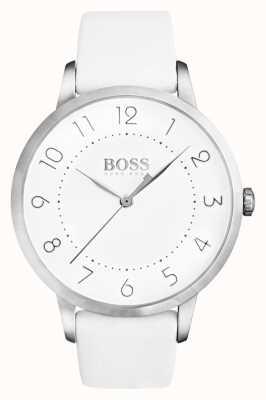 Hugo Boss Frauen eclipse weißes Lederband weißes Zifferblatt 1502409