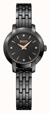 Hugo Boss Damen Erfolg schwarz Stahlarmband schwarz beschichtet Wahl 1502387