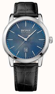 Hugo Boss Mens klassische schwarze Lederband blaues Zifferblatt 1513400