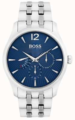 Boss Mens Commander Edelstahlarmband blaues Zifferblatt 1513492